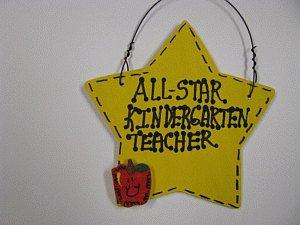 Teacher Gift 7004 Yellow All Star Kindergarten Teacher Hand Painted Wood Star