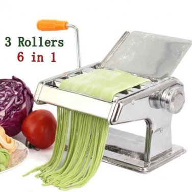 304 Stainless Steel Pasta Maker Machine 3 Rollers Manual Multi-Functional Noodle Maker Machine