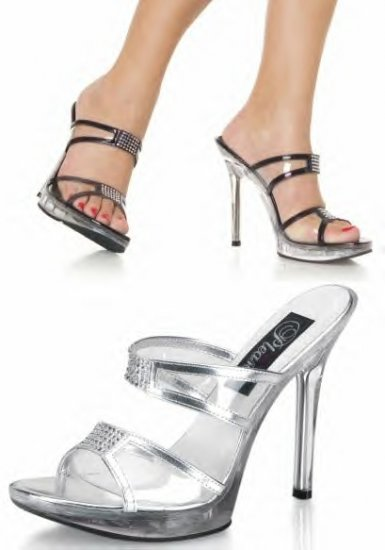 Women's Clear Strap Sandals with Rhinestone Details