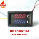 "0.28"" DC 0-100V 10A Digital Voltmeter Ammeter Red Blue LED"
