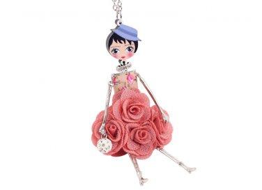 Flower Doll Necklace Dress Handmade French Doll Pendant Alloy Girl Women