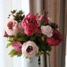 Artificial Flowers Silk flower European Fall Vivid Peony Fake Leaf Wedding Home Party No. 3