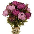 Artificial Flowers Silk flower European Fall Vivid Peony Fake Leaf Wedding Home Party No. 4