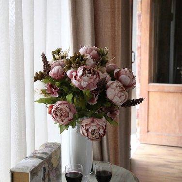 Artificial Flowers Silk flower European Fall Vivid Peony Fake Leaf Wedding Home Party No. 5