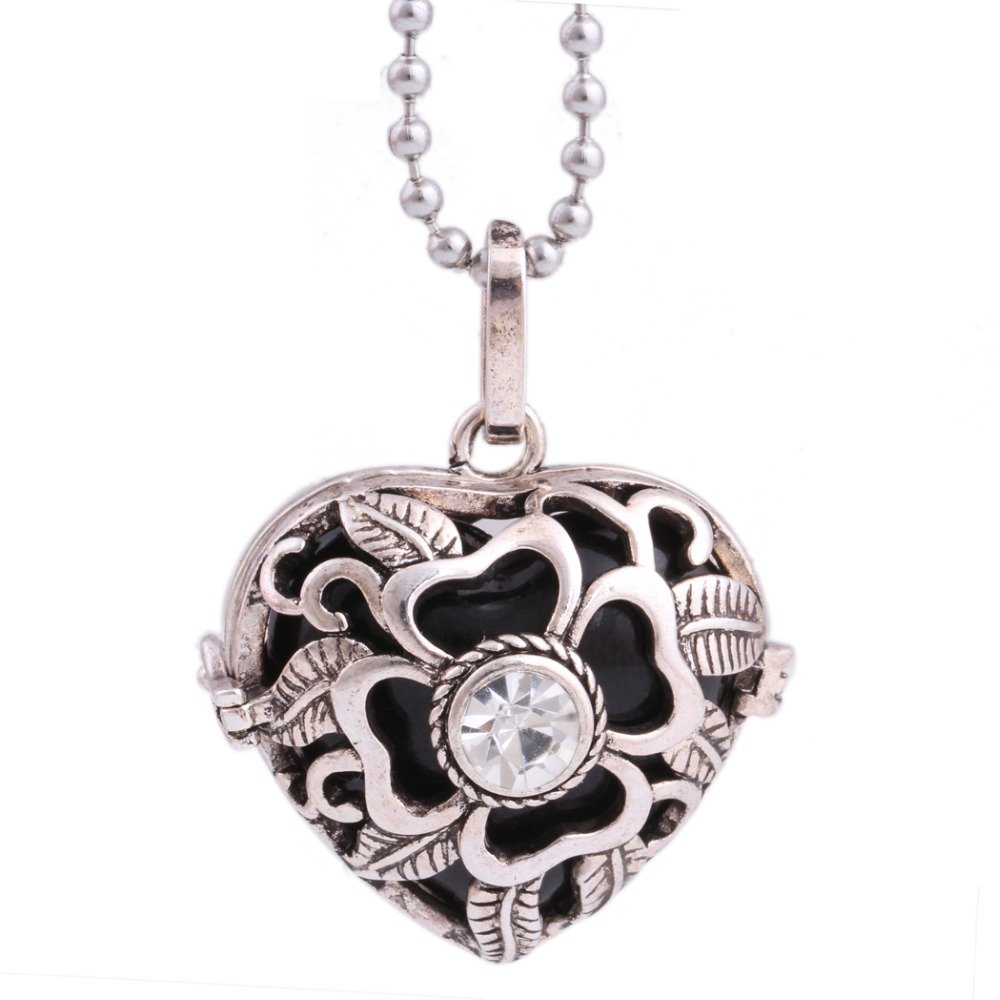 Silver Flower Locket Retro Jewelry Hollow Out Heart With Black Onyx Pendant Long Necklace
