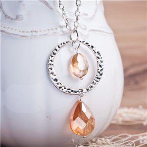 Jewelry Handmade Necklace Silver Plated Link Chain Orange Glass Bead Round Pendant 41.8cm