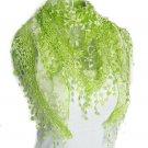 Burn lace rose flower triangle shawl girl neckerchief Lace Tassel Sheer Burntout Floral Print