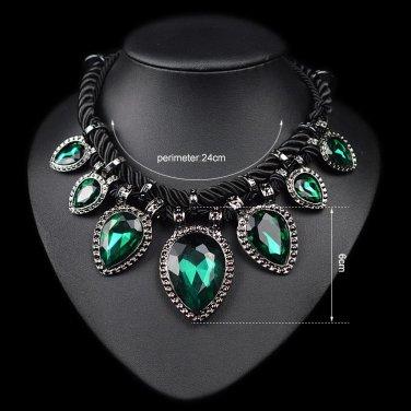 Hand made green crystal neckalce rope water drop chunky chocker women jewelry