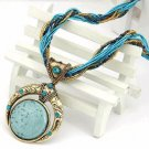 Lemon Value Statement Maxi Choker Vintage Charms Bead Collar Turquoise Pendant Boho