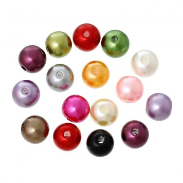 300 PCs 8mm Acrylic Imitation Pearl Round Beads Spacer Ball Bead Jewelry handmade Random