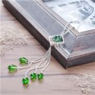 Fashion Jewelry Handmade Necklace Silver Plated Rhombus Tassel Pendant Green