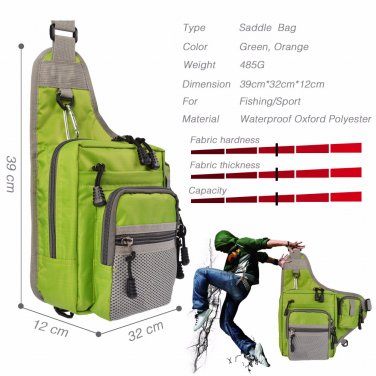 Waterproof Waist Tackle Bag 32*39*12cm Multifunction Lure Fishing Bag