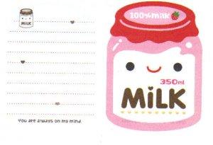 Strawberry Milk Memo Sheet (Pink)