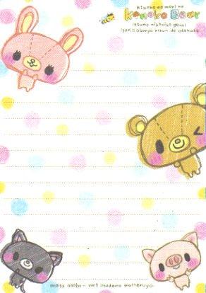 Kinoko Bear Memo Sheet 2