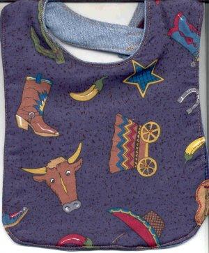 Handmade Southwestern Baby Bib Cowboy Boots Peppers