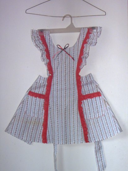 Girls Pinafore Apron Sz 3 White With Red Eyelet Trim