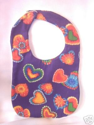 New Handmade Baby Bib Purple With Tie Dye Hearts