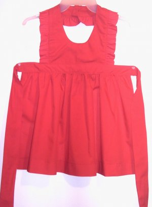 Girls Red Christmas Holiday Pinafore Apron Sz 3-4