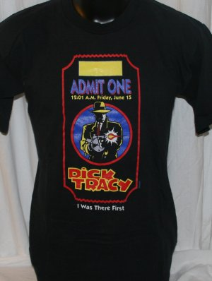 "Dick Tracy"" I Was There First"" Opening T Shirt Black Large"