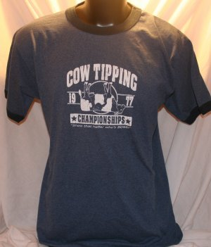 1977 Cow Tipping Championships  Blue T-Shirt XL
