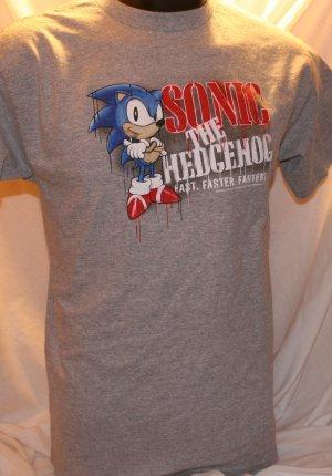 Sonic the Hedgehog Fast. Faster. Fastest Gray Medium T Shirt
