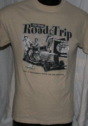 THREE STOOGES ROAD TRIP Brown MEDIUM T Shirt