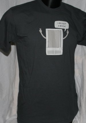 I AM NOT A BOOK! American Apparel LARGE Gray T Shirt