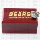 Team Logo wooden case 1985 Chicago Bears Super Bowl Championship Ring 10-13 size solid back