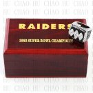 Team Logo wooden case 1983 Los Angeles Raiders Super Bowl Championship Ring 10-13 size solid back