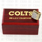 Team Logo wooden Case 2009 Indianapolis Colts AFC Football world Championship Ring 10-13 size