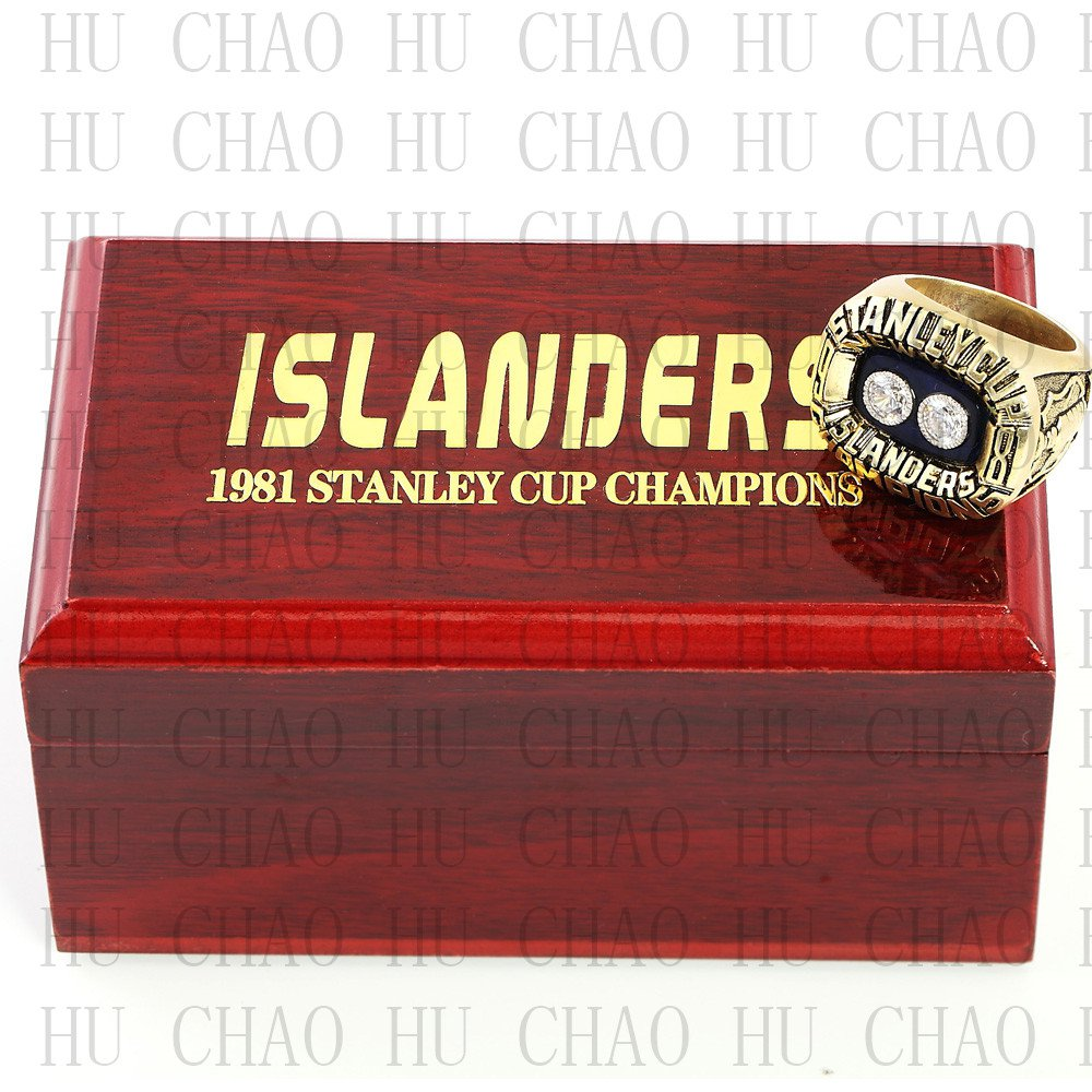 Team Logo wooden Case 1981 New York Islanders Hockey Championship Ring 10-13 size solid back