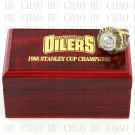 Team Logo wooden Case 1985 EDMONTON OILERS Hockey Stanely Cup Championship Ring 10-13 size