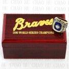 Team Logo wooden Case 1995 ATLANTA BRAVES world Series Championship Ring 10-13 size solid back