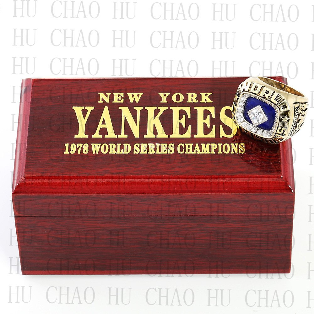 Team Logo wooden Case 1978 New York Yankees world Series Championship Ring 10-13 size solid back