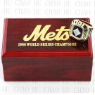 Team Logo wooden Case 1986 New York Mets world Series Championship Ring 10-13 size solid back