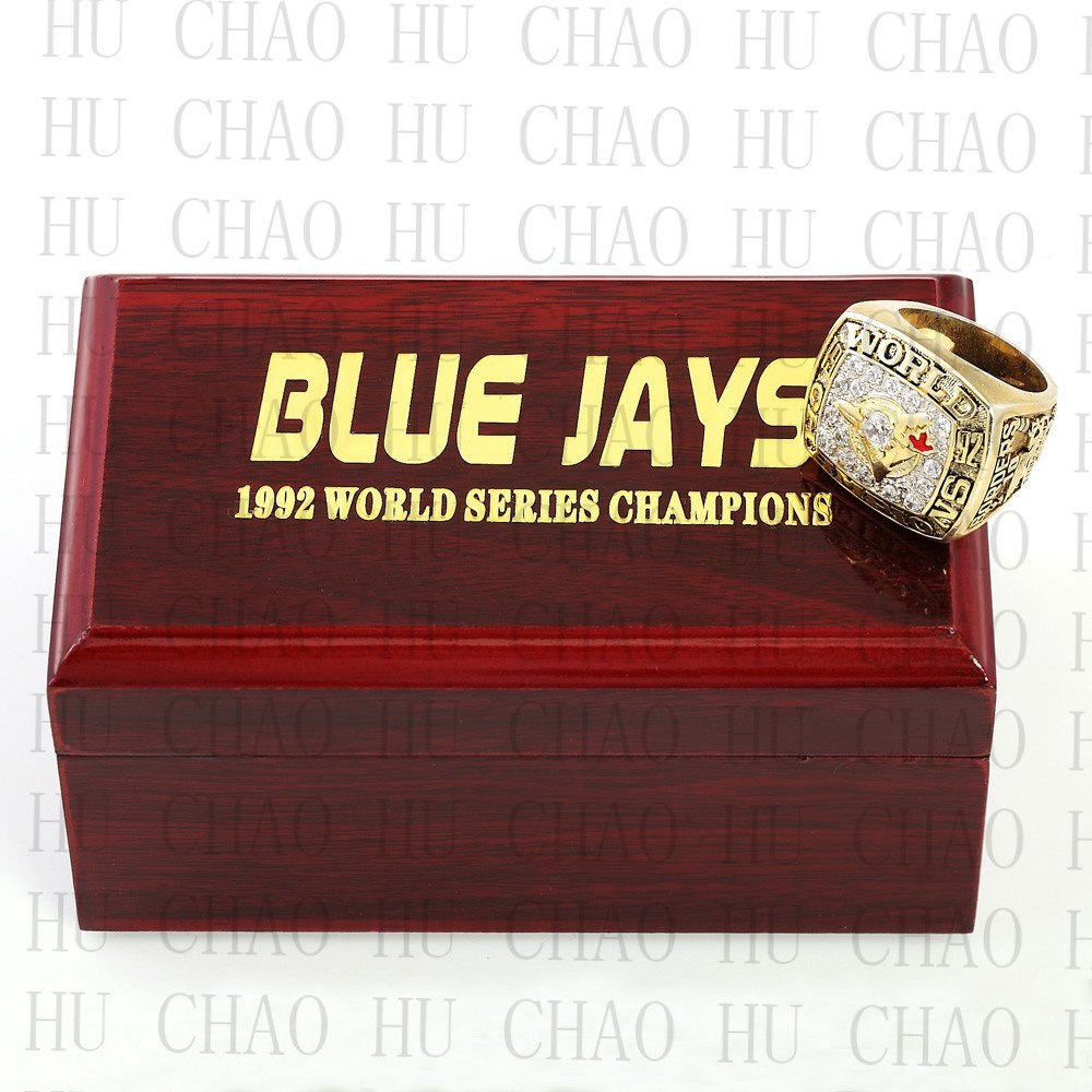 Team Logo wooden Case 1992 TORONTO BLUE JAYS world Series Championship Ring 10-13 size