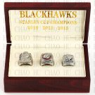 Set 3PCS 2010 2013 2015 Chicago Blackhawks NHL Hockey Stanely Cup Championship Ring 10-13 Size