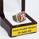 1991 Buffalo Bills AFC FOOTBALL Championship Ring 10-13 size with cherry wooden case as a gift
