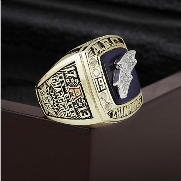 1994 San Diego Chargers AFC FOOTBALL Championship Ring 10-13 size with cherry wooden case as a gift