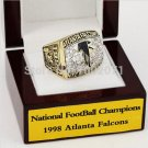 1998 Atlanta Falcons NFC Football Championship Ring 10-13 size with cherry wooden case