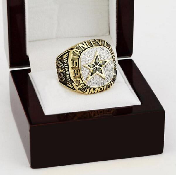 1999 Dallas Stars NHL Hockey Stanely Cup Championship Ring 10-13 size with cherry wooden case
