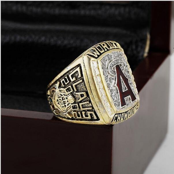 2002 LOS ANGELES ANGELS MLB world Series Championship Ring 10-13 size with cherry wooden case