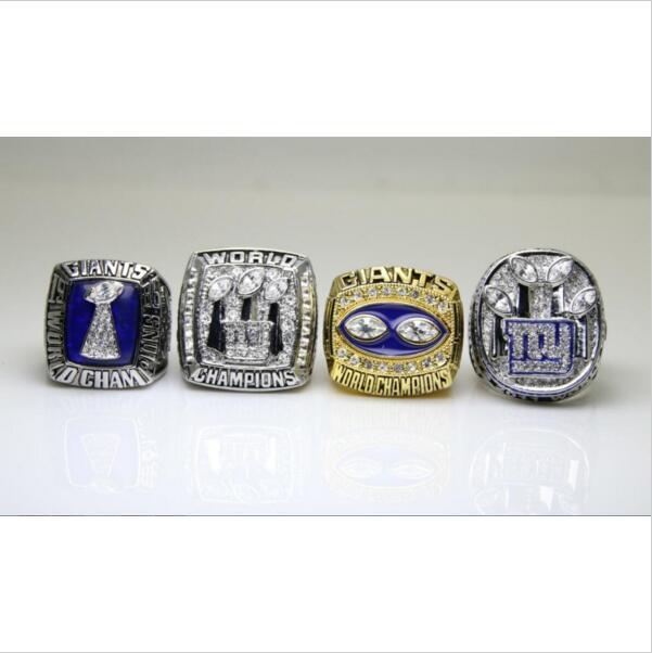 One Set 4 PCS 1986 1990 2007 2011 New York Giants NFL Super bowl Championship Ring 11S