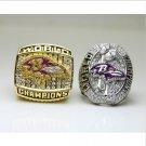 One Set 2 PCS 2000 2012 Baltimore Ravens NFL Super bowl Championship Ring 11S Alloy in stock