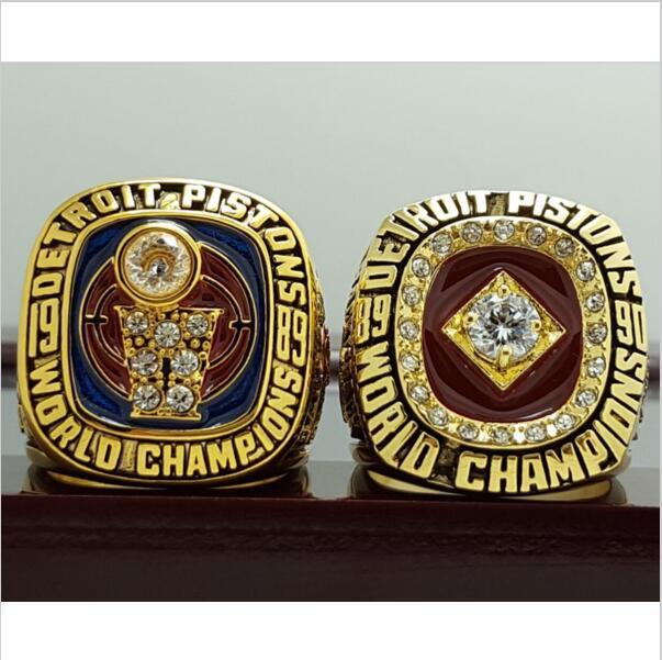 2 PCS 1989 1990 Detroit Pistons Basketball world championship ring 8-14S copper solid