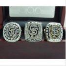 3 PCS 2010 2012 2014 San Francisco Giants MLB World Seires Championship Ring 11S+BOX