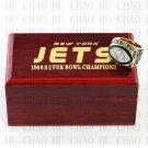 Team Logo wooden case 1968 New York Jets Super Bowl Championship Ring 13 size