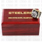 Team Logo wooden case 2005 Pittsburgh Steelers Super Bowl Championship Ring 10-13 size solid back
