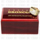 Team Logo wooden case 1997 Denver Broncos Super Bowl Championship Ring 11 size solid back