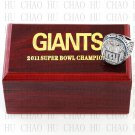 Team Logo wooden case 2011 New York Gaints Super Bowl Championship Ring 11 size solid back